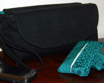 Swirled Black Matelasse Clutch with Turquoise and Black Floral Interior with Matching Pocket Tissue Holder