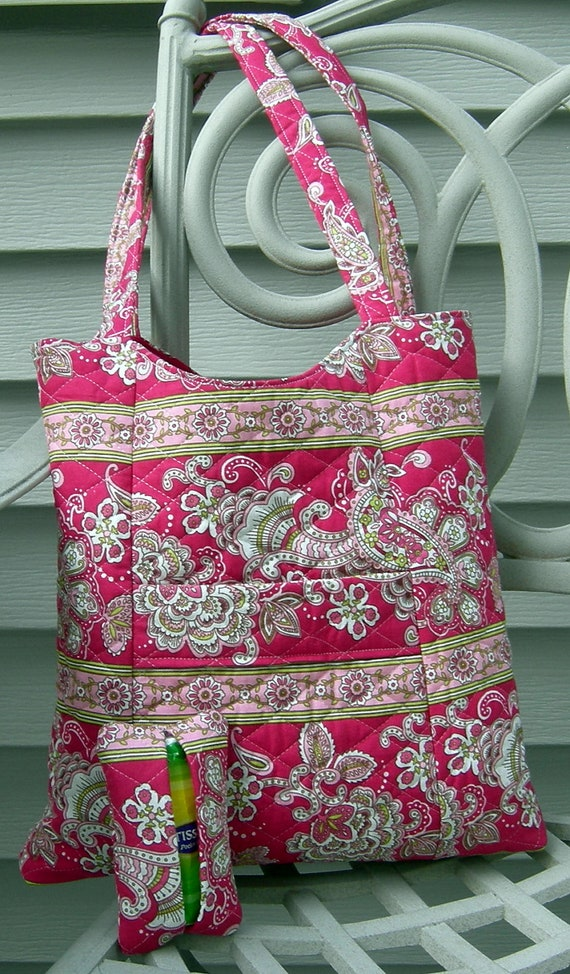 Pink and Green Floral and Stripe Tote with Matching Pocket Tissue Holder