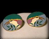 Tropical Bird Enamel Earrings