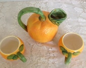 Pitcher and Cups Orange Shape Juice
