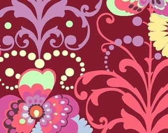 Amy Butler Fabric - Love Paradise Garden Wine 1/2 Yard