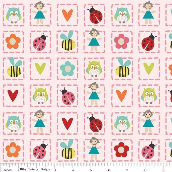 Riley Blake Fabric - 1 Yard of Pink- Alphabet Soup Girl - Squared
