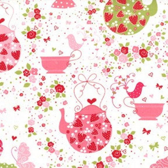 Michael Miller Fabric - Half Yard of Strawberry Tea Party in Pink