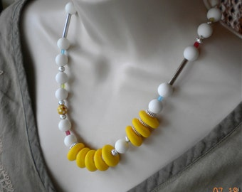 Vintage Beads Necklace, Matte Yellows and White Lucite, Silver Rounds and Discs, Opaque, glass, Summer, Tropical, One of a kind.