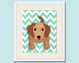 Dog art print, chevron baby nursery art for children. Kids puppy dog wall art. Dachshund print by WallFry