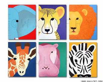 Safari nursery prints for baby & child. SET OF ANY 6 modern prints of jungle zoo animals theme for kids rooms and playrooms