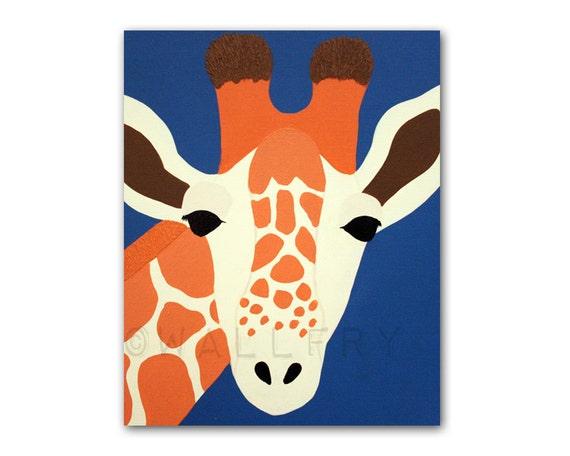 Giraffe Print nursery art. Safari artwork, baby  jungle art, child zoo decor animal for kids rooms and playrooms in blue and orange