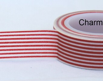 Red White stripes Washi Masking Tape Roll Adhesive Stickers WT28