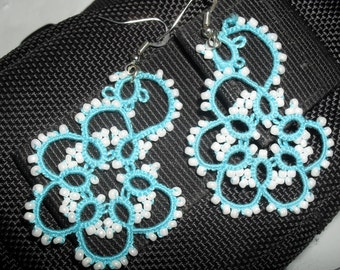 Handmade tatted earrings made of turquoise cotton thread and white beads