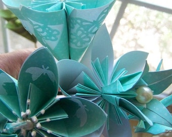 Teal and Ivory Origami Butterfly Theme Bouquet