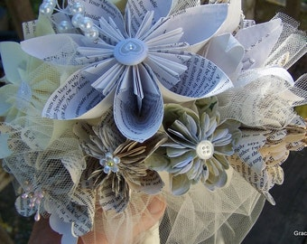 Origami Bouquet With Book Page or Sheet Music Flowers 15 Included