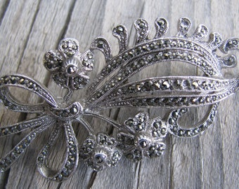 Pretty Marcasite Costume Brooch or Pin from the 80s