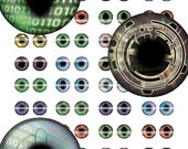 1 inch Technology Cyber Eyes Collage Sheet for Cabochon and Jewelry Making or Scrapbooking