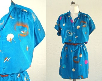 Vintage 90s dress TEAL ABSTRACT puffs print short sleeve - M