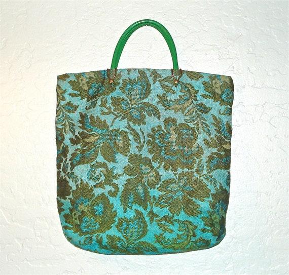 Vintage 60s bag EMBROIDERED DAMASK tapestry tote