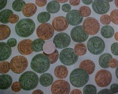Vintage 1950s 1960s Cotton Print fabric Mid Century 3 yards Exotic Coin Pattern Unused