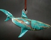 Teal Glass Shark Ornament, Suncatcher with Red/Tan Marbled Stripes