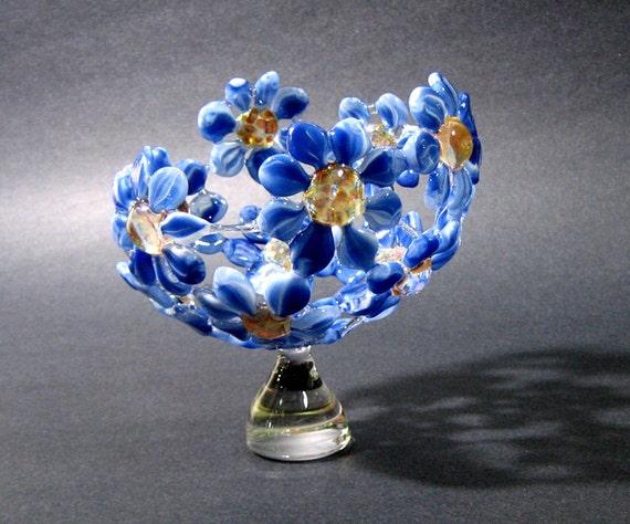 Glass Flower Bowl Sculpture Artisan Crafted Lampwork Glass Original