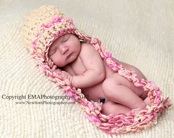 Earflap Baby Hats, Newborn Crochet Hat with Funky Twisted Tassels, Photography Props and Winter Accessories