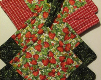 Strawberry Patchwork Potholders -- Red and Green -- 2 Sets Available