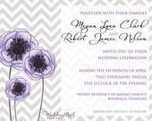 Chevron Anemone Wedding Invitation - Print at Home Template