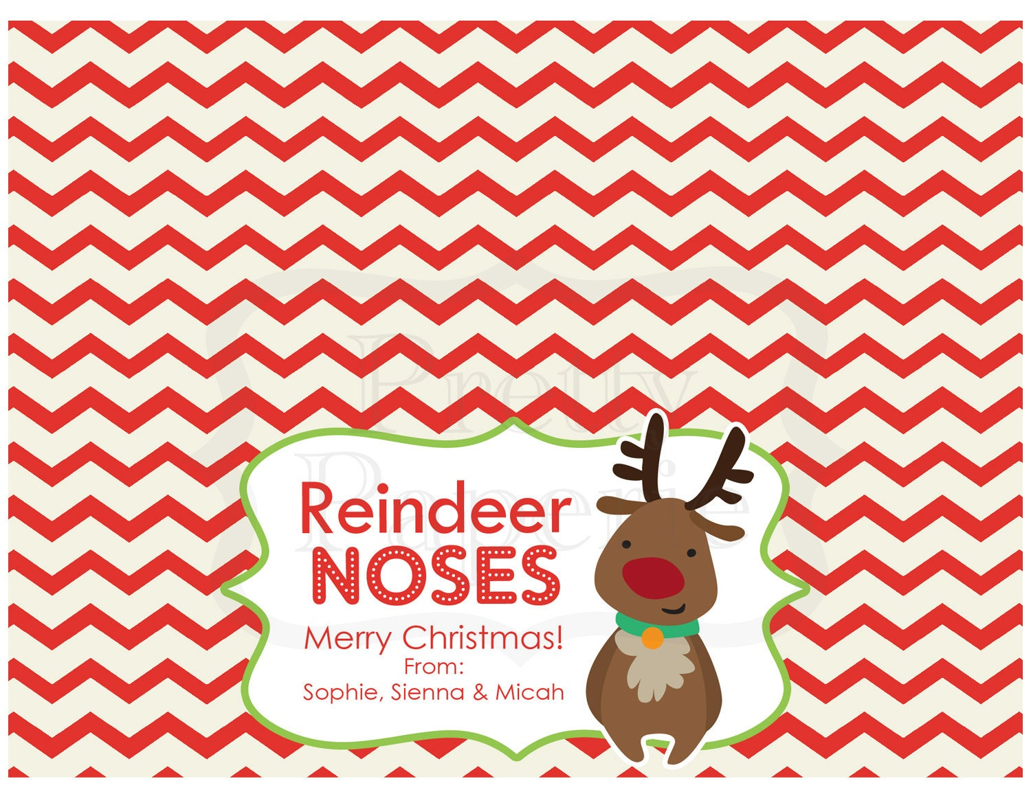 INSTANT Download-Christmas Treat Bag Tags: Reindeer Noses