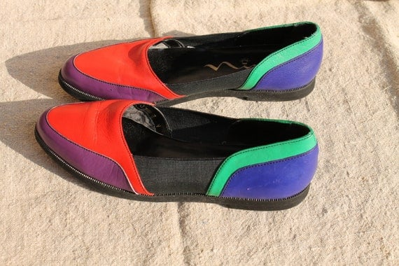Colorful flat slip-on shoes, in US size 7 N or 7.5 N by Nina, vintage, bright colorblock in red, purple, blue and green, Narrow, euro 37-38