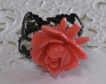 Coral Rose Ring - Antique Brass Adjustable Filigree Band