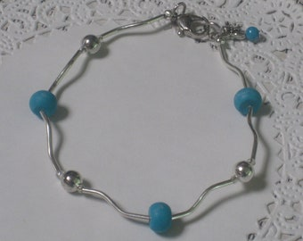 Turquoise Modern Elegance Bracelet - Turquoise Beads, Silver Balls And Silver Swirly Tubes