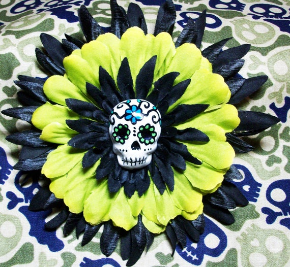 Green and Black Sugar Skull Flower Barrette Hair Clip