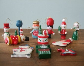 Vintage Wooden Toy Christmas Ornaments