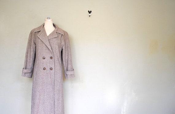 50s 60s Long Women's Winter Tweed Peacoat - Large City Life Miss New Yorker Wool Tweed Winter Jacket