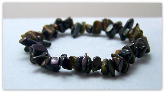 Stretch Bracelet - Gemstone Bracelet - Blue Tigers Eye Bracelet, Tigers Eye Chips, Bead Bracelet, Gemstone Jewelry