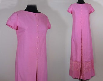 Pink Maxi Dress - Pink Shantung & Chantilly Lace Maxi Dress - Shift Style - M-L - 60s-70s