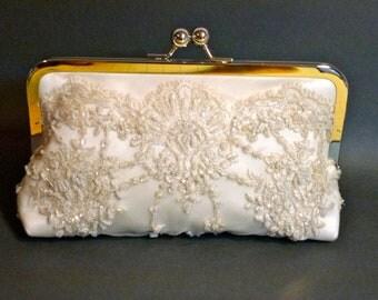 Bridal Clutch Beaded Princess Clutch Ivory