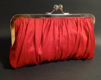 Bridal Clutch | Bridesmaid Clutch |Wedding |Red Silk | Gathered Clutch | CUSTOMIZE Holiday