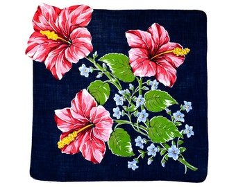 RETRO HANKIE, Mid-Century, Deep Pink Red Hibiscus on Navy Field with Green Leaves, Hand Rolled Hem, Shaped Edge, Excellent Condition