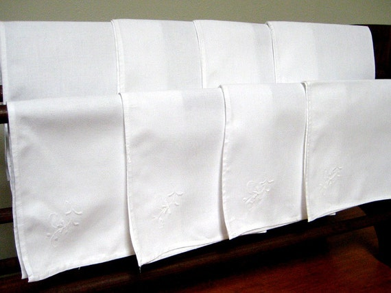 Vintage Dinnter Napkins, 8 Count, Sturdy White Cotton, Hemmed Edges, White on White Embroidery, Excellent Condition
