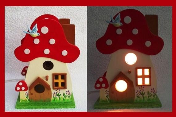 Birdhouse Nightlight Table Lamp mushroom