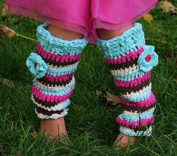 Items similar to Girls Stripy Leg Warmers, Leggings ...
