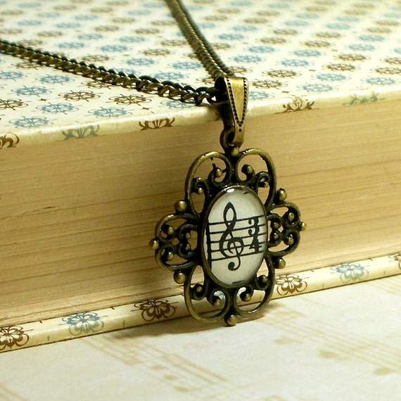 Treble Clef 1946 Sheet Music Necklace