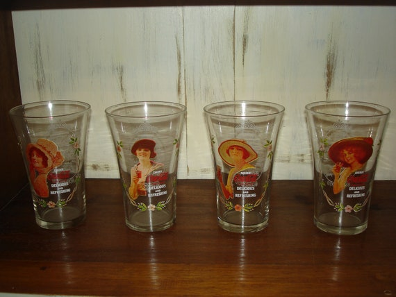 Reduced from 30 set of 4 vintage coca cola drinking glasses Unusual drinking glasses uk