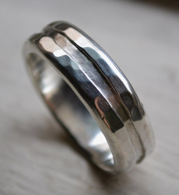 mens silver ring rustic sterling silver ring by maggidesigns