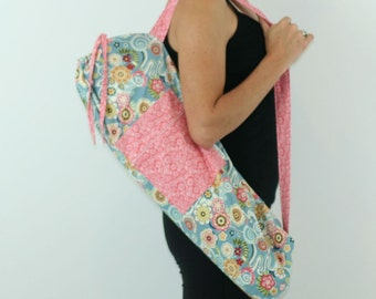 FREE SHIPPING- Yoga Mat Bag in Light Blue and Pink Asian Floral with a Zipper Pocket