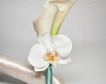 Ivory Calla Lily and Orchid Boutonniere with Aqua Blue Wrap
