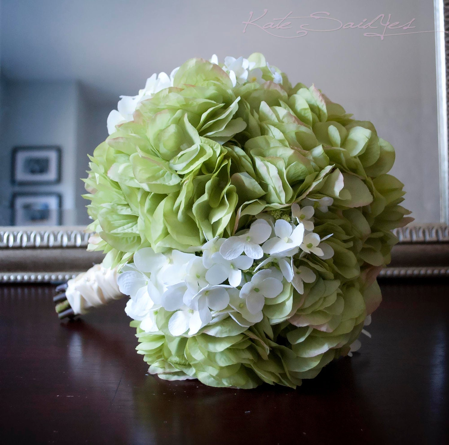 Wedding White Hydrangea: Wedding Bouquet Green And White Hydrangea Bridal Bouquet