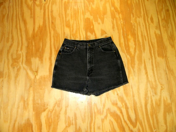 Vintage Denim Cut Offs - 80s/90s Black Stone Washed Jean Shorts - High Waisted Cut Off/Frayed Short Shorts by Chic - Size 11/12