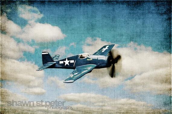 Vintage WWII Prop Plane Blue Fighter Blue Sky, Photo Print, Boys Room, Boys Nursery Decor, Airplane Prints, Art decor