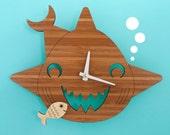 Bamboo Happy Shark Clock: Wooden Kids Wall Clock Ocean Nursery Children