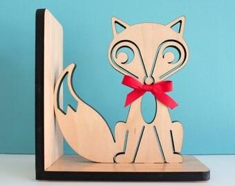 Wood Fox Bookend: Modern Baby Nursery Children